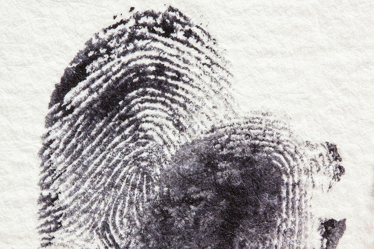 due impronte digitali su un foglio di carta bianca