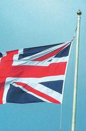 La bandiera inglese che sventola
