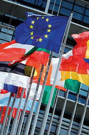 Le bandiere dei paesi della comunità europea
